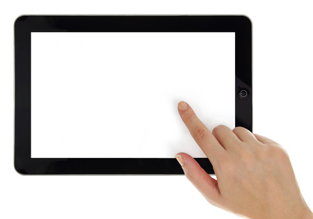 Female hand pointing on tablet with blank screen isolated photo