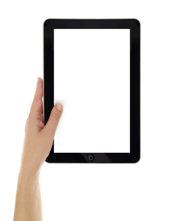 Female hand vertically holding tablet with blank screen isolated photo