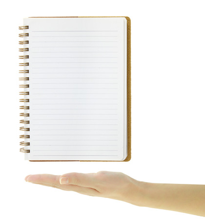 notebook paper background: Hand presenting lined blank notebook template isolated on white Stock Photo