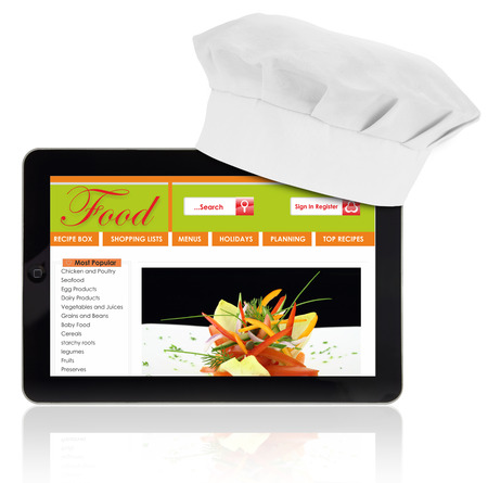Tablet computer with chef and recipe website template isolated photo