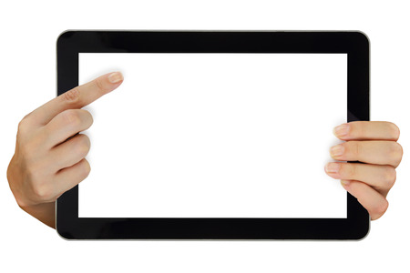 Female hands pointing on tablet with blank screen isolated photo