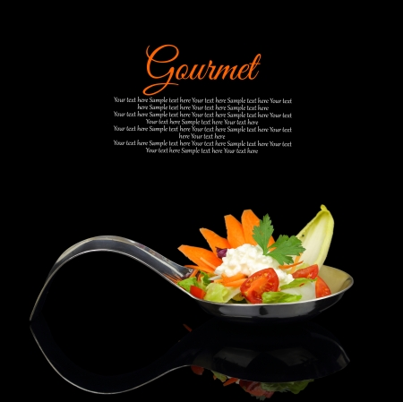Gourmet creamy puree with vegetable decoration on black background