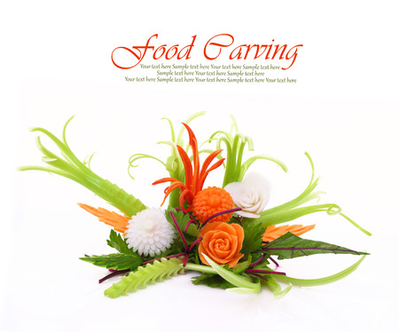 Creative bouquet made of fruits and vegetables isolated photo