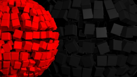 chamfer: Abstract background with big red sphere made of cubes Stock Photo