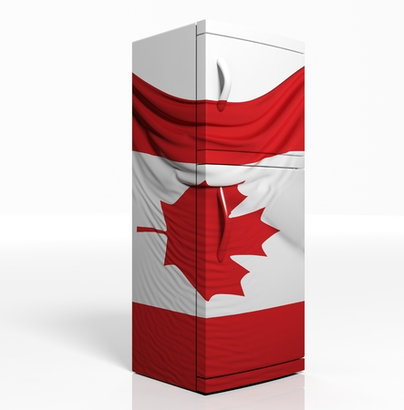 3D refrigerator with canadian flag isolated one white photo