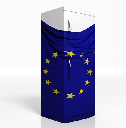 3D refrigerator with european flag isolated one white photo