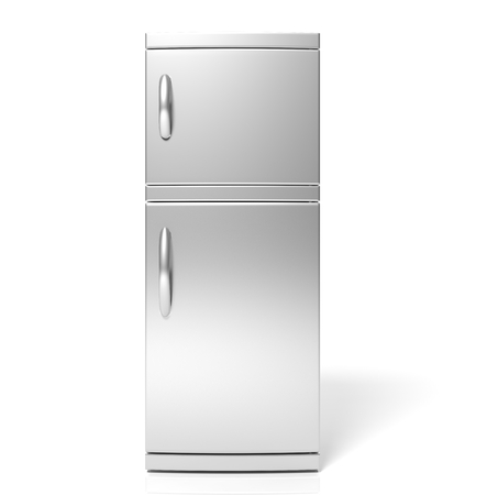 3D render of large silver refrigerator isolated one white photo