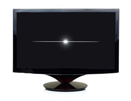 by turns: 3D black tv display turned off isolated on white  Stock Photo