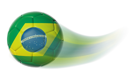 Soccer ball with Brazil flag in motion isolated Stock Photo