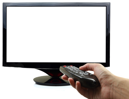 3D blank tv display with hand and remote control