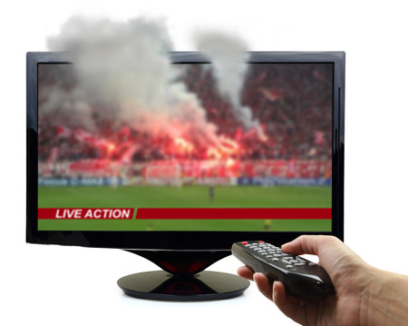 Tv screen with football match and smoke isolated  photo