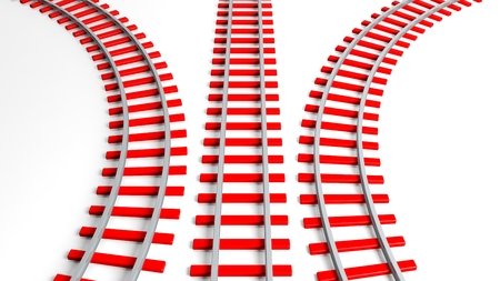 straight path: Three 3D rendering red railway tracks, isolated on white