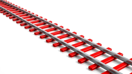 straight path: 3D rendering red railway track, isolated on white background Stock Photo