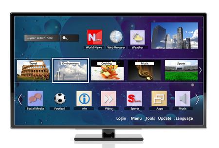 3D Smart TV met pictogrammen, geïsoleerd op een witte achtergrond