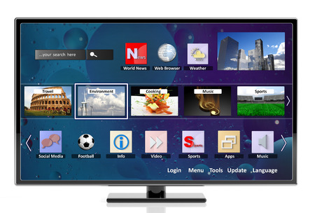 news icon: 3D smart tv with icons, isolated on white background Stock Photo