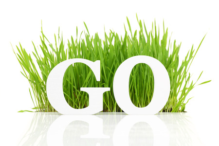 go green background: Go green with text and grass isolated on white