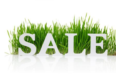 Word 'Sale' with fresh grass isolated on white photo