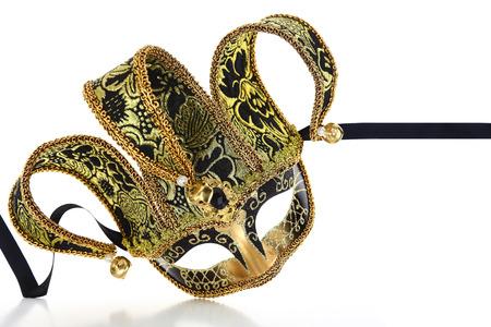 Vintage Venetian carnival mask isolated on white  photo