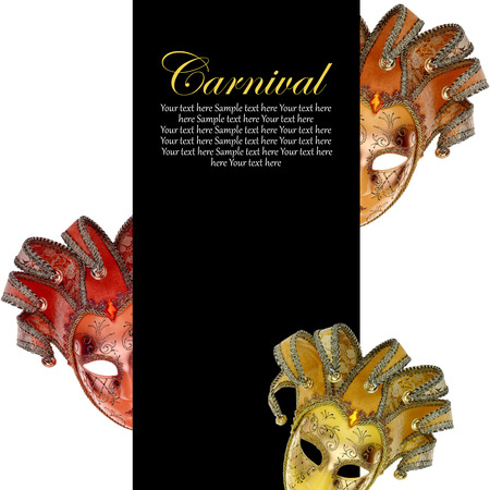 Vintage venetian carnival masks with blank banner photo