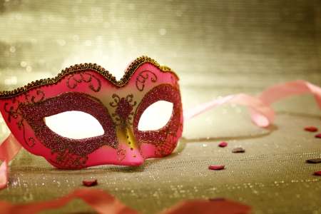 carnival masks: Vintage pink carnival mask  Stock Photo
