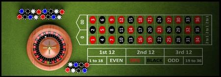 Casino vollständige Tabelle mit Roulette und Chips, 3d render