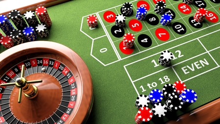 roulette wheels: Casino complete table with roulette and chips, 3d render