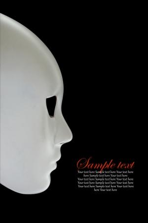 multiple personality: White mask on black background