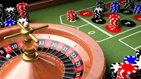 roulette: Primo piano 3D del tavolo del casinò con roulette e patatine