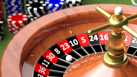 Macro of casino roulette numbers and ball Stock Photo