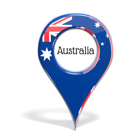 3D pinpoint with flag of Australia isolated on white photo
