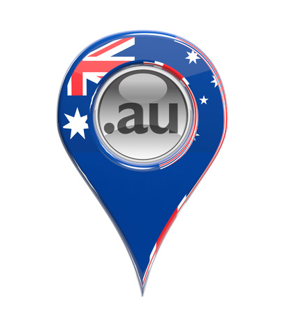 3D pin domain marker with Australian flag isolated photo
