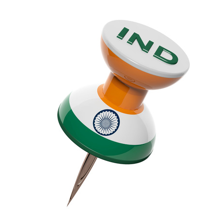 india 3d: 3D pushpin with flag of India isolated on white
