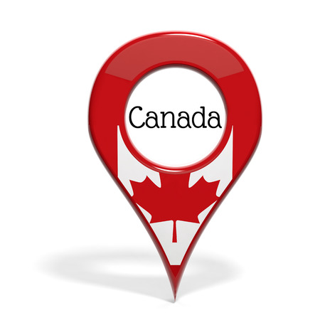 pinpoint: 3D pinpoint with flag of Canada isolated on white Stock Photo
