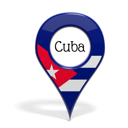 pinpoint: 3D pinpoint with flag of Cuba isolated on white