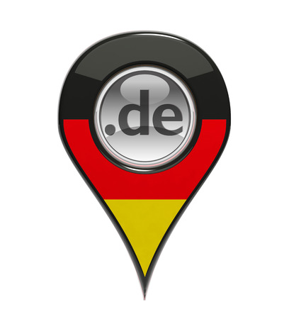 3D pin domain marker with German flag isolated photo