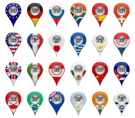 3D set of domain pin-pointers with various countries flags photo