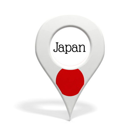 pinpoint: 3D pinpoint with flag of Japan isolated on white