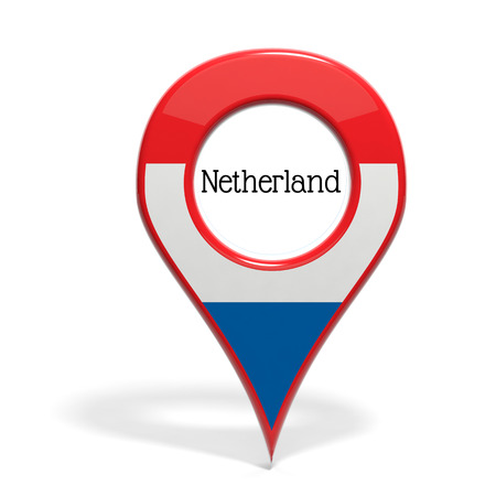 3D pinpoint with flag of Netherlands isolated on white photo