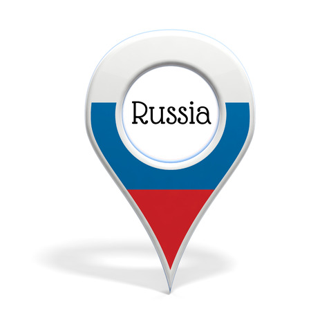 pinpoint: 3D pinpoint with flag of Russia isolated on white Stock Photo