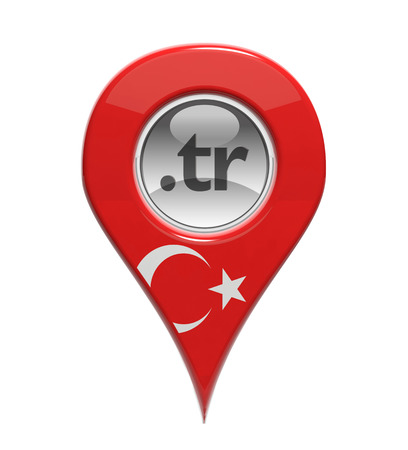 3D pin domain marker with Turkish flag isolated photo
