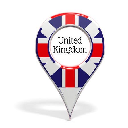 pinpoint: 3D pinpoint with flag of United Kingdom isolated