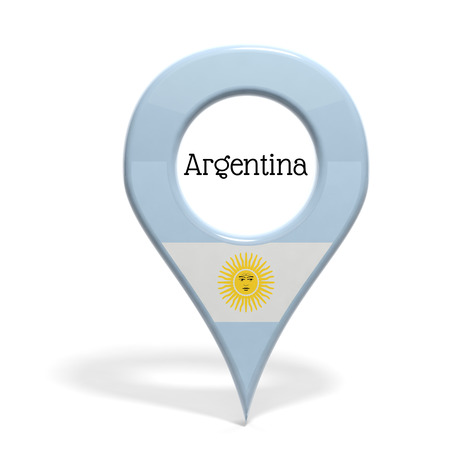 argentina map: 3D pinpoint with flag of Argentina isolated on white