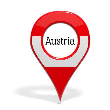 pinpoint: 3D pinpoint with flag of Austria isolated on white