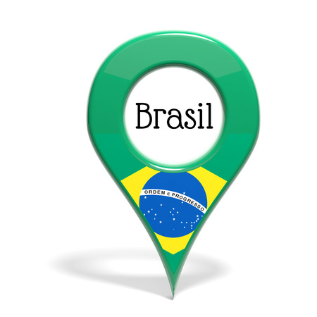 pinpoint: 3D pinpoint with flag of Brazil isolated on white Stock Photo
