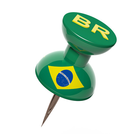 map pin: 3D pushpin with flag of Brazil isolated on white
