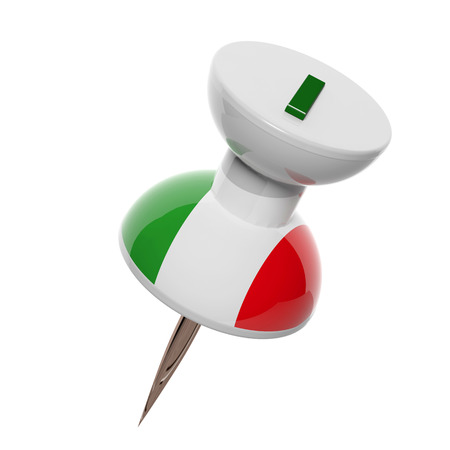 3D pushpin with flag of Italy isolated on white photo