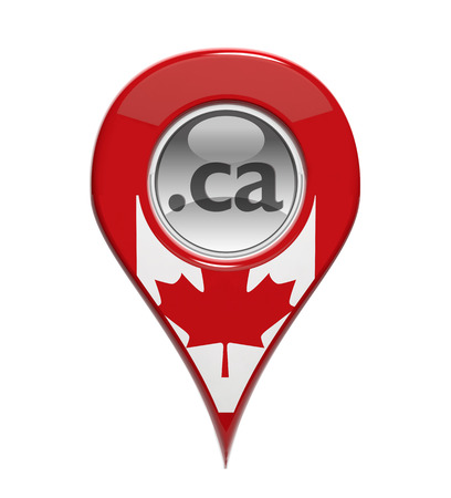 ca: 3D pin domain marker with Canadian flag isolated  Stock Photo