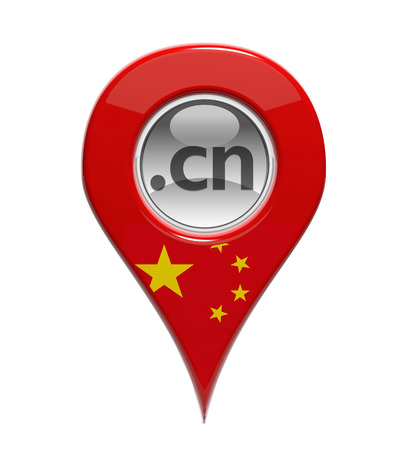 registration mark: 3D pin domain marker with Chinese flag isolated