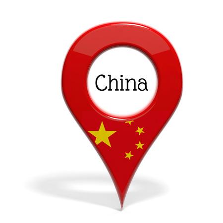 mapa china: Milimétrica 3D con bandera de China aislado en blanco Foto de archivo