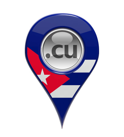 3D pin domain marker with Cuban flag isolated photo